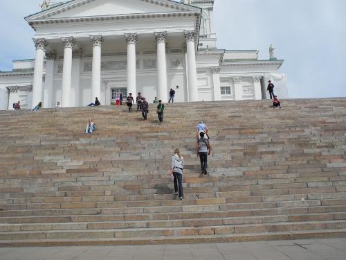 Treppe vor der Kathedrale von Helsinki.